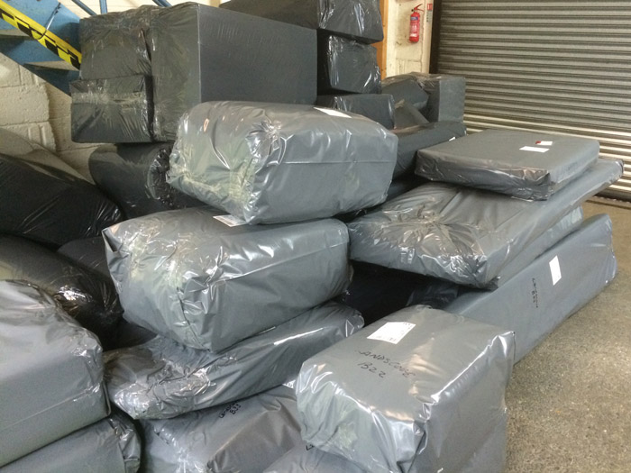 The re-upholstered furnishings are then carefully packaged ready to be returned to the customer