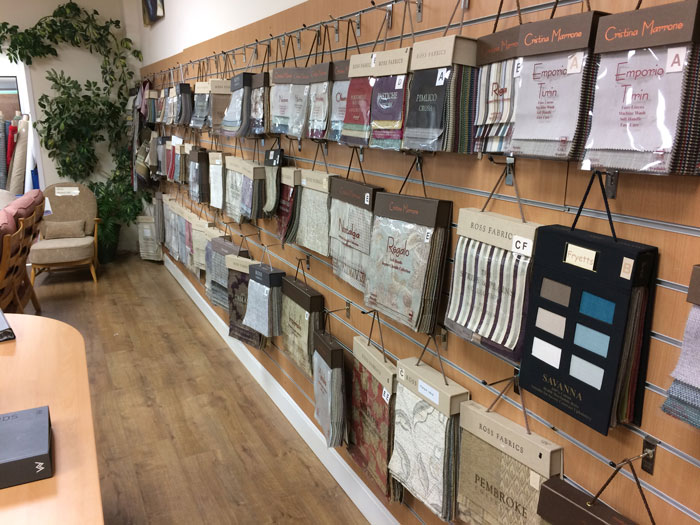 We have fabric swatch books from all the major upholstery and curtain fabric suppliers