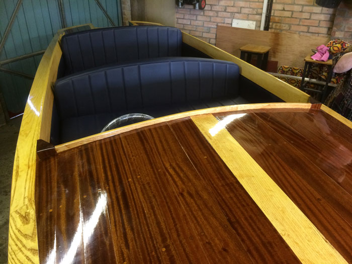 New vinyl covered foam seat cushions for a vintage motor boat