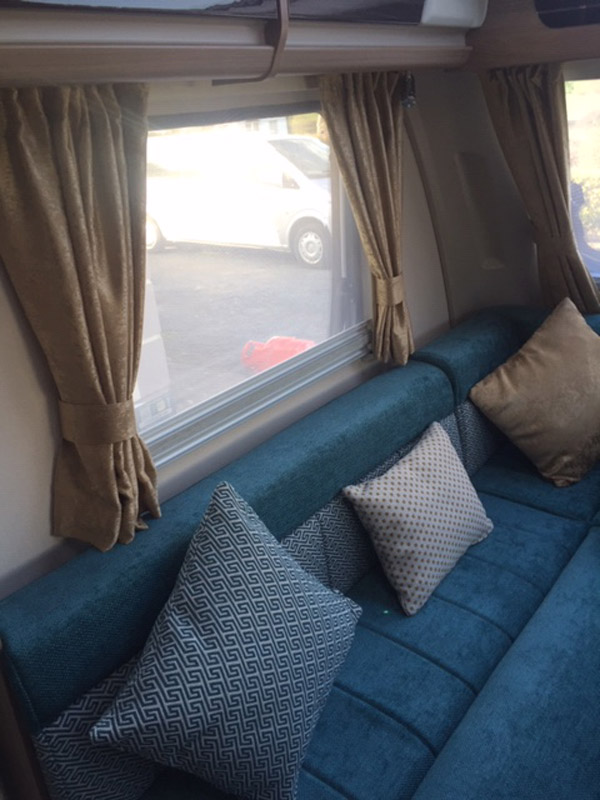 A newly re-upholstered touring caravan