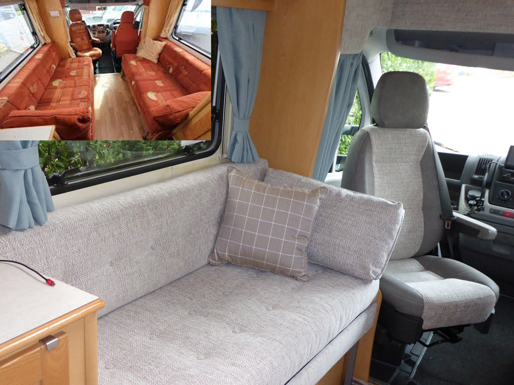 The same motorhome has been transformed with new cushions, upholstery, curtains and furnishings