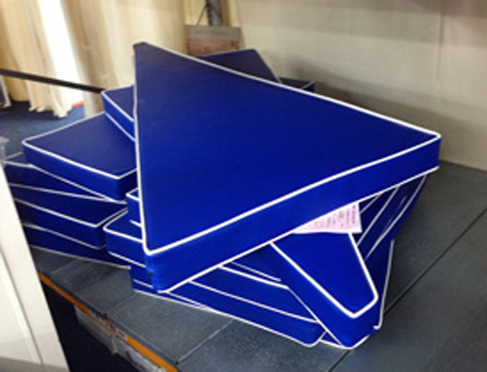 Bespoke shaped vinyl covered foam boat/yacht cushions