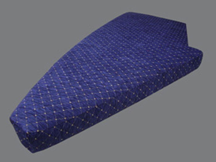 A shaped yacht cushion/mattress covered with a luxury chenille fabric