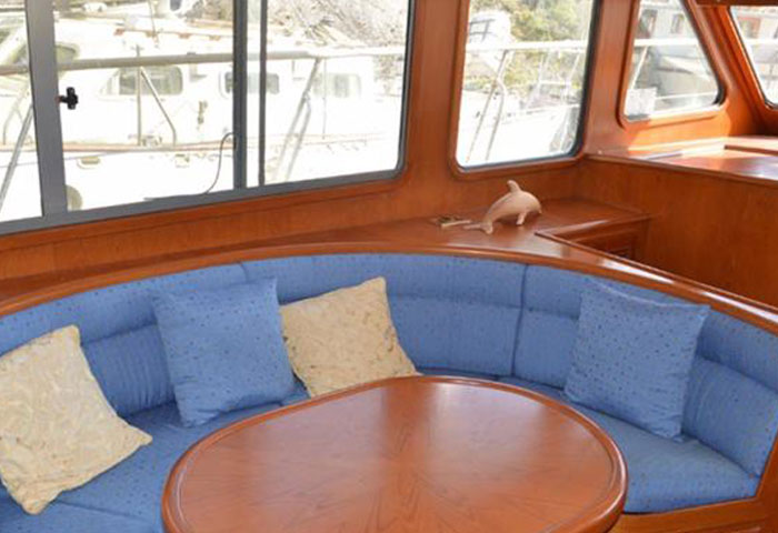 This boat interior is dated and in need of new boat foam cushions and upholstery