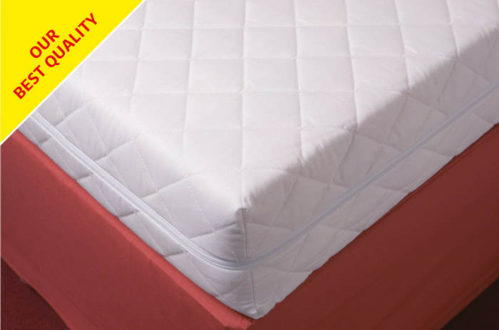 Our best quality polycotton moisture resistant zipped quilted foam mattress cover.