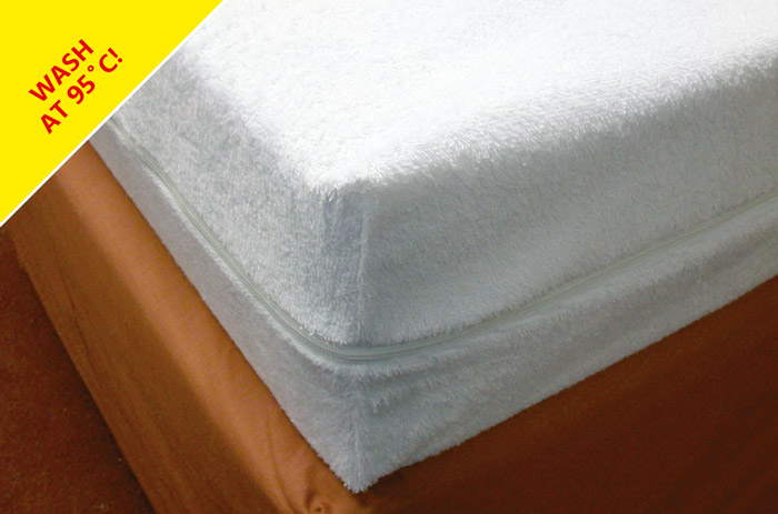 Our zip-on polycotton terry towelling waterproof foam mattress cover can be washed at 95 degrees!