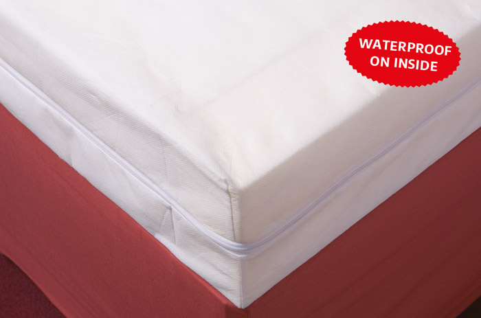 Polypropylene zip-on foam mattress cover that is waterproof on the inside.