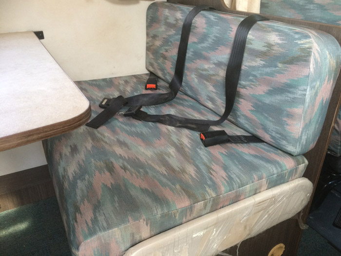 Our printed polyester specification seat covers in situ
