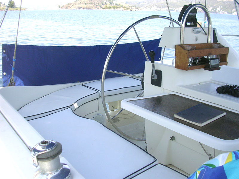 External weatherproof seat cushions for a yacht