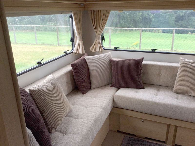 A re-upholstered touring caravn interior